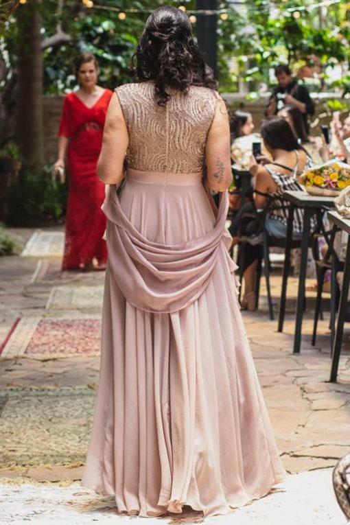 Vestido de Festa Longo Rodado Rosê