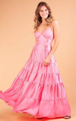 Vestido de Festa Longo Rosa Chiclete