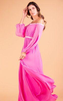 Vestido de Festa Longo Rosa com Mangas