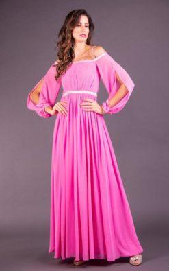Vestido de Festa Longo Rosa com Ombro a Ombro