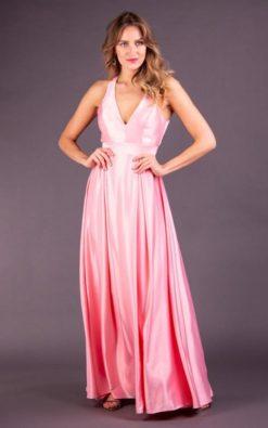 Vestido de Festa Longo Rosa Decotado