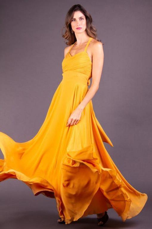 Vestido de Festa Longo Saia Rodada Ouro