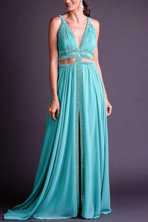 Vestido de Festa Longo Sensual Verde Água