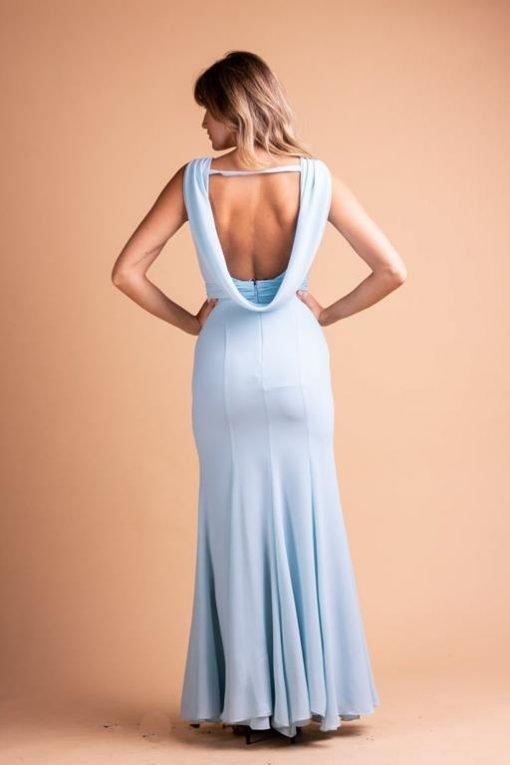 Vestido de Festa Longo Sereia Azul Bebê