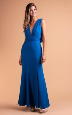 Vestido de Festa Longo Sereia Azul Danúbio