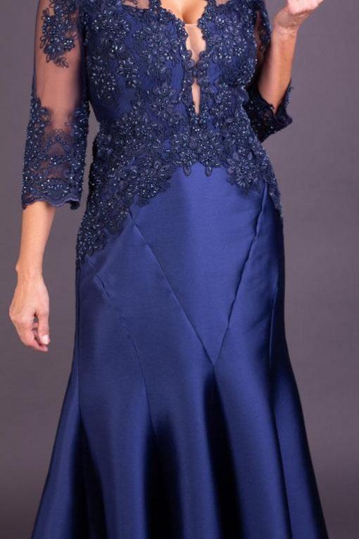 Vestido de Festa Longo Sereia Azul Marinho