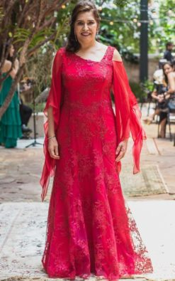 Vestido de Festa Longo Sereia Mangas Caracol