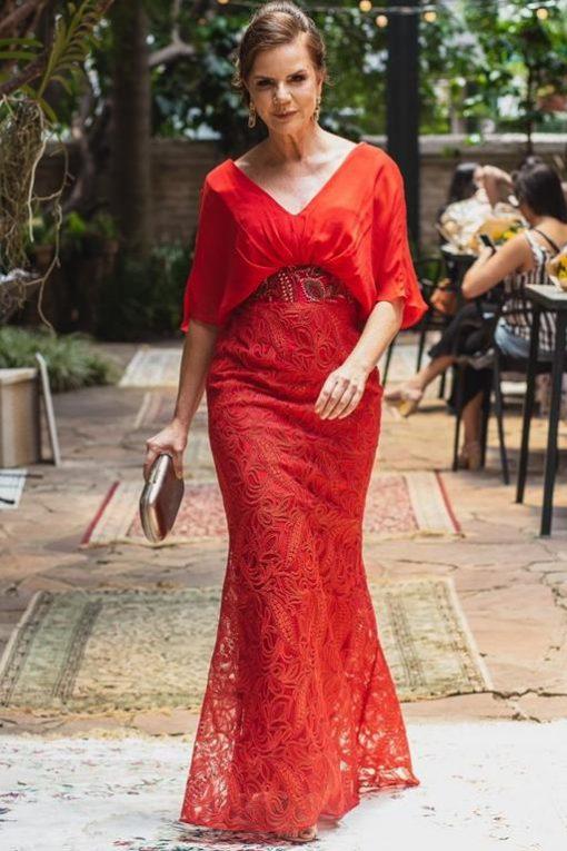 Vestido de Festa Longo Sereia Regata Franzida
