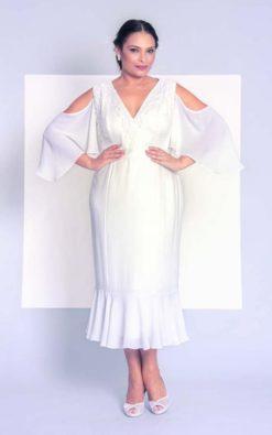 Vestido de Festa Curto de noiva Plus Size midi decotado
