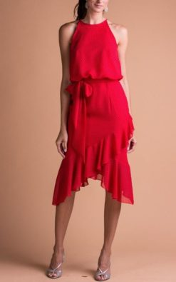 Vestido de Festa Curto Vermelho Frente Única