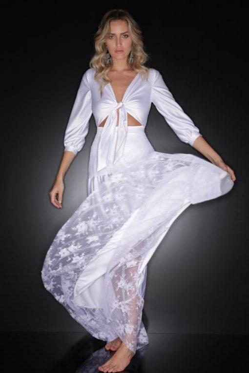 Vestido de Festa Longo Branco de Réveillon 2020 Lucy