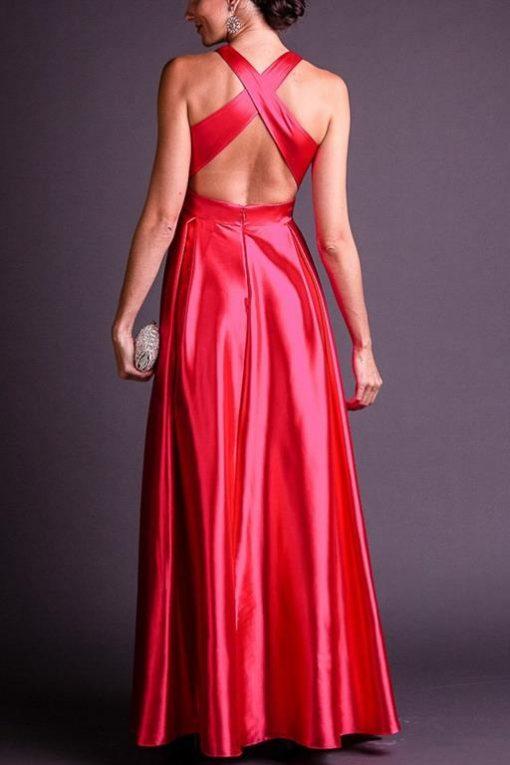 Vestido de Festa Longo Vermelho Decote em V
