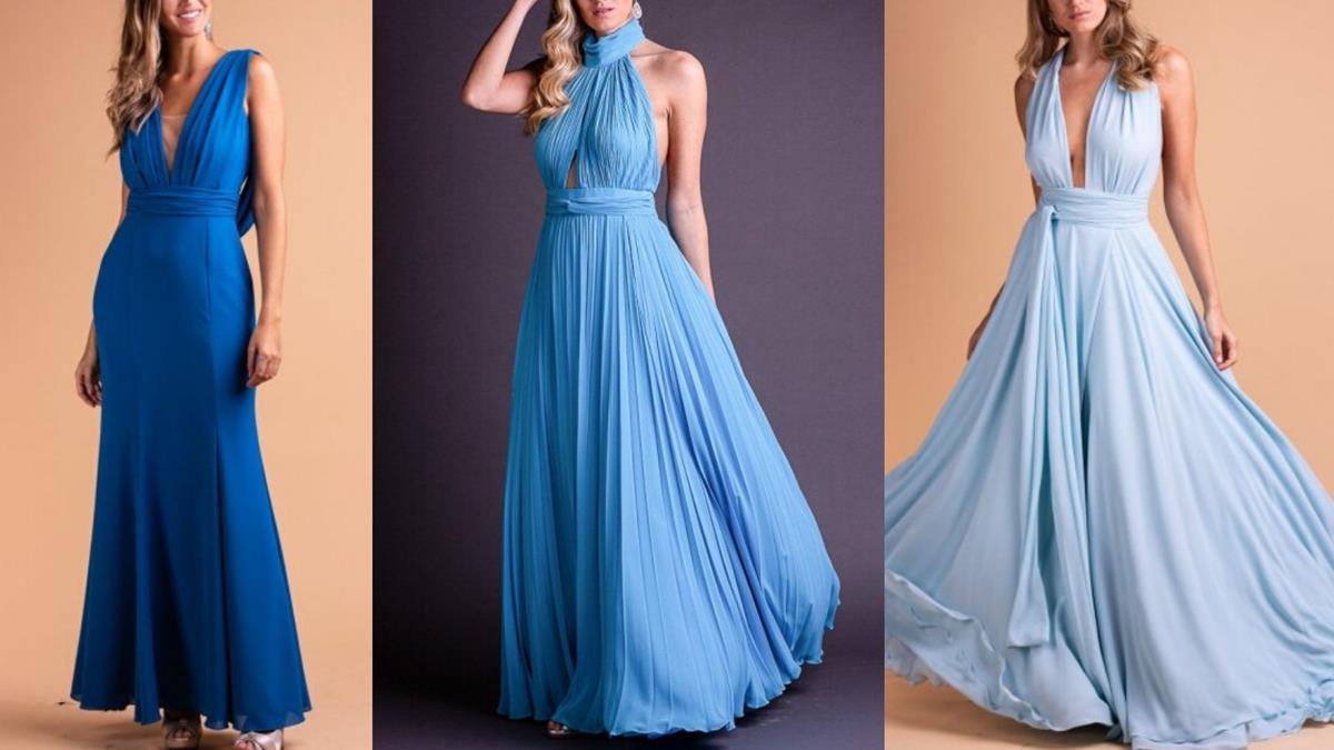 O azul clássico, do primeiro vestido, é a cor de 2020. Contudo, os outros tons de azul também estão entre as tendências para vestidos de madrinhas.