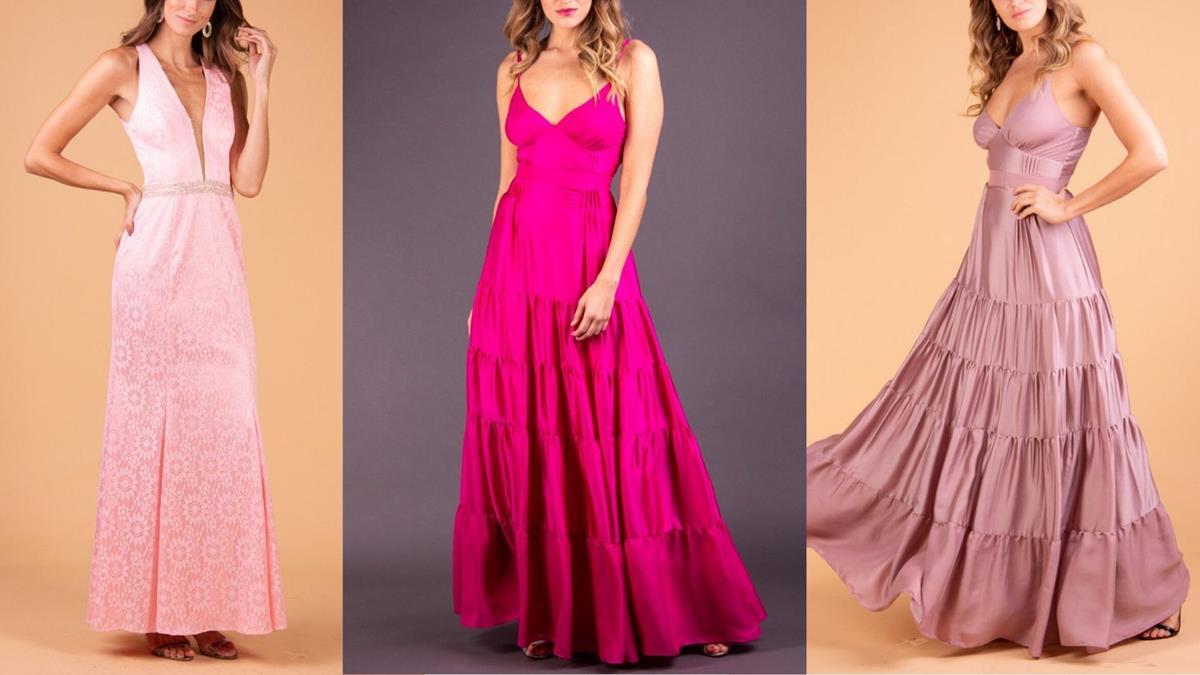 O rosa é uma tradição entre as madrinhas e vai aparecer nos vestidos tanto em tons delicados quanto nos mais vibrantes.