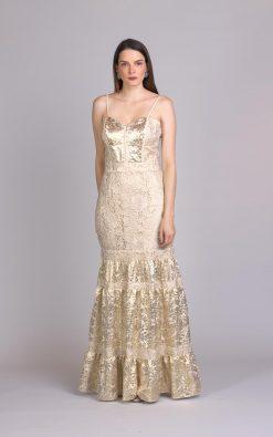 Vestido de festa dourado gisi