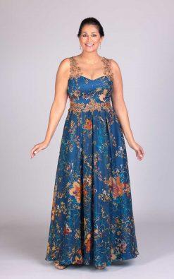 vestido de festa estampado burin bordado a mão