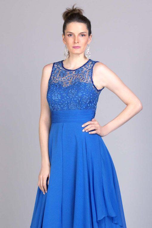 Vestido de festa longo azul galisteu