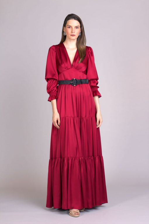 Vestido de festa marsala guga