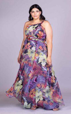 Vestido de festa plus size printart