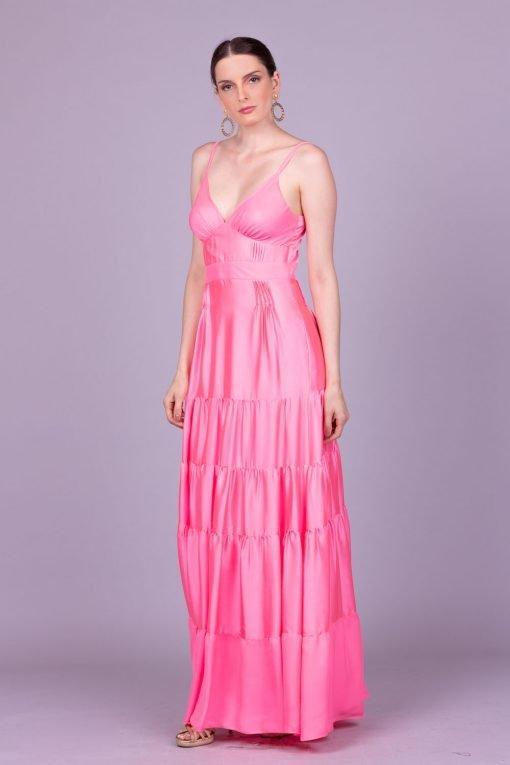 Vestido de festa rosa candy color