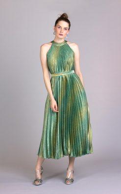 Vestido midi plissado serena
