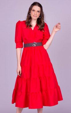 Vestido midi vermelho nathy