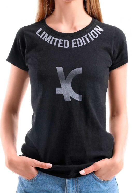 Camiseta Feminina Preta T2 Estampa Prata Limited Edition