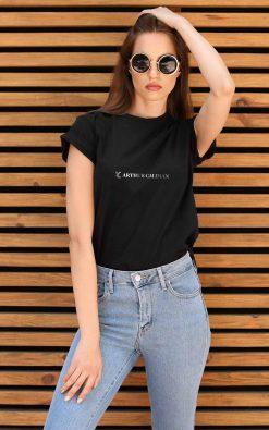Camiseta Feminina Preta Estampa Branca AC T9