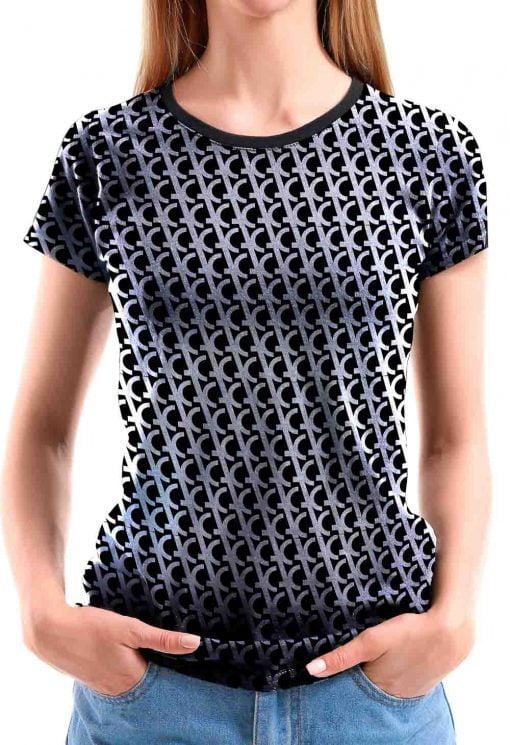 Camiseta feminina preta monograma prata T8