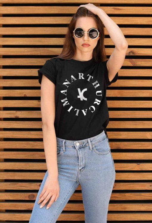 Camiseta Feminina Preta Estampa Branca Hot