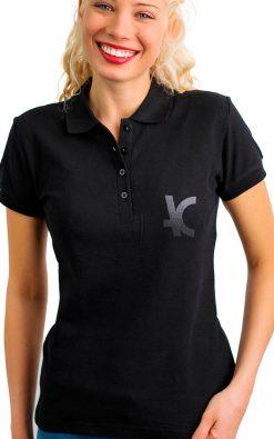 Camiseta polo feminina preta bordado prata P1