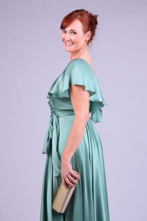 Vestido de festa longo verde salvia glory