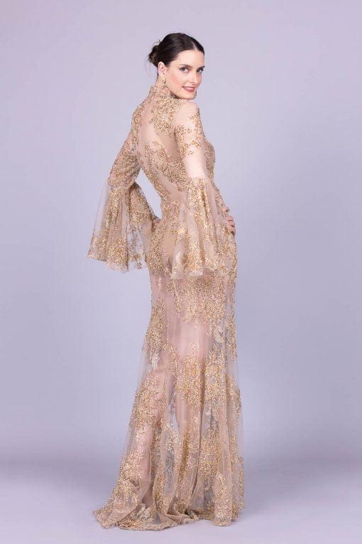 Vestido de festa dourado marcela diniz