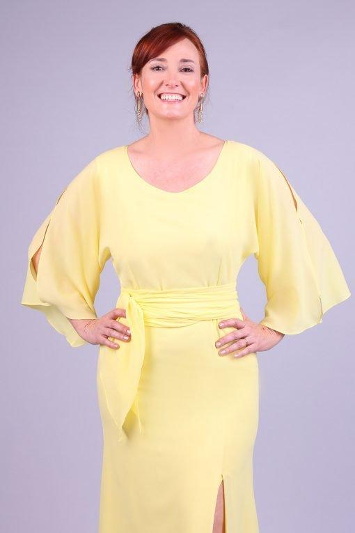 Vestido de festa midi amarelo gaby