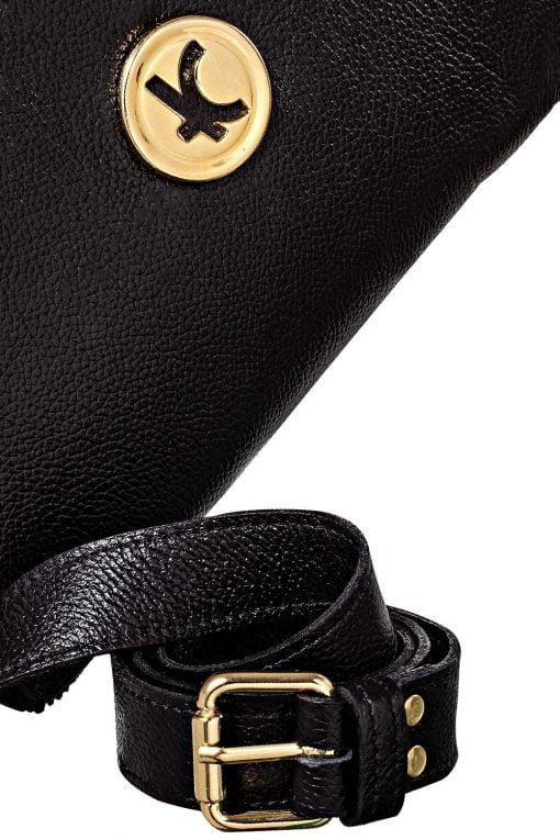 Bolsa carteira feminina 3 em 1 multi versátil, na cor preta com logo metal em dourado
