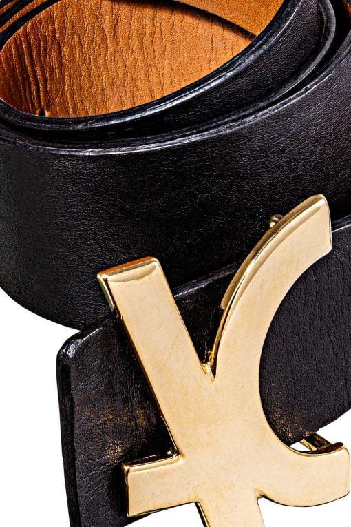 Cinto de couro preto caliman gold